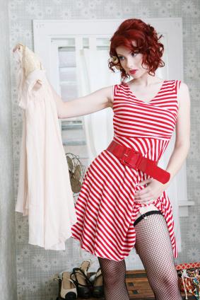 Randig trikåklänning