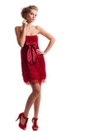 Röd cocktailklänning
