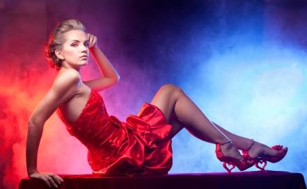 Röd partyklänning