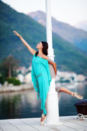 Turkos ballerinaklänning
